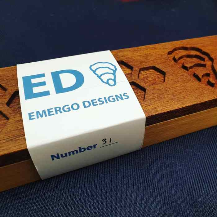 At Emergo Designs we take pride at the wooden gift packaging we send every knife in.